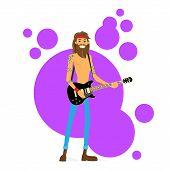 foto of hippy  - Man Play Guitar Hippie with Beard Vector Illustration - JPG