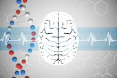 stock photo of helix  - brain against dna helix in blue and red with ecg line - JPG
