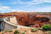 image of dam  - The Lake Powell Dam and Bridge near Page Arizona - JPG