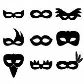 image of carnival rio  - carnival rio black masks simple icons set eps10 - JPG