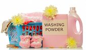 pic of detergent  - Detergent with washing powder and towels in basket isolated on white background - JPG