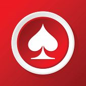 picture of spade  - Round white icon with card symbol spades - JPG