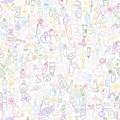 picture of cosmetic products  - doodle hand drawn cosmetic products seamless background - JPG
