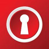 stock photo of keyholes  - Round white icon with image of keyhole - JPG