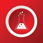 foto of conic  - Round white icon with image of conical flask - JPG