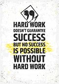 Hard work doesnt guarantee success, but no success is possible without hard work motivational quote poster
