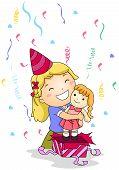 stock photo of little girls  - Illustration of a Little Girl Hugging the Gift She Received - JPG
