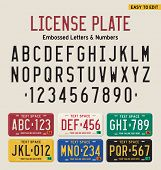 3d license plate font and license plate set poster