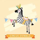 Постер, плакат: Circus Zebra vector animal series