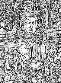 pic of belur  - illustration from photograph of sculpture at the belur halebid temple complex near hassan karnataka india - JPG