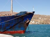 stock photo of hydrofoil  - Detail of old cargo ship anchored at the port of Andros Island Greece - JPG