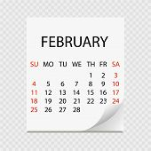 Monthly Calendar 2018 With Page Curl. Tear-off Calendar For February. White Background. Vector Illus poster