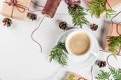Preparation For Christmas With Coffee And Gifts poster