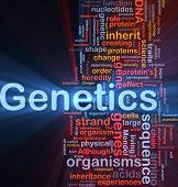 stock photo of gene  - Background concept wordcloud illustration of genetics dna genes glowing light - JPG