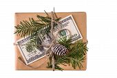 christmas gift box with banknote of dollar on white background