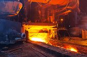 foto of blast-furnace  - Close view of working blast furnace at the metallurgical plant - JPG