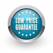 Low price guarantee blue silver metallic chrome border web and mobile phone icon on white background poster