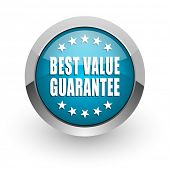 Best value guarantee blue silver metallic chrome border web and mobile phone icon on white backgroun poster