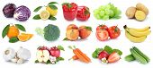 Fruit Fruits And Vegetables Collection Isolated Apple Orange Tomatoes Fresh poster