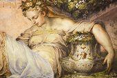 Постер, плакат: Старая фреска с красивой женщиной от Палаццо Веккьо во Флоренции