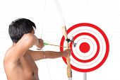 Asian Man Holding Bow And Shooting To Archery Target. Rear View, Businessman Aiming At Target With B poster