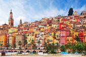 View on old part of Menton, Provence-Alpes-Cote dAzur,  France. poster