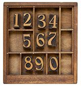 pic of arabic numerals  - ten arabic numerals from zero to nine vintage wood letterpress blocks stained by black ink in old typesetter case with dividers - JPG