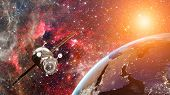 Cargo Spaceship In The Space. Elements Of Earth On This Image Furnished By Nasa. poster