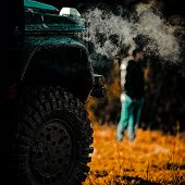 Drag Racing Car Burns Rubber. Extreme. Off-road Car. Motion The Wheels Tires And Off-road That Goes  poster
