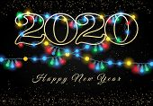 New Year 2020 Lights Garlands Background. Holiday Light Bulbs Black Background, Glowing Christmas Co poster