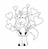 Coloring Book For Kids - Unicorn With Hearts. Black And White Cute Cartoon Unicorns. Vector Illustra poster