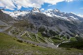 View From The Stelvio Pass, The Highest Automobile Pass In Italy, 2758 Metres , Located Between Tren poster