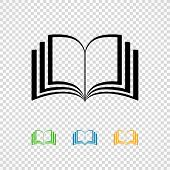 Open Book Black And Colored Line Icons . Magazine Or Library Icon Isolated On  Transparent Backgroun poster