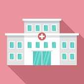 Hospital Building Icon. Flat Illustration Of Hospital Building Vector Icon For Web Design poster