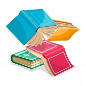 Blue, Pink, Green, Yellow Thick Books Falling Down Or Flying. Unnecessary Stuff In Heap Concept. Rev poster