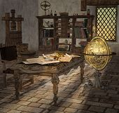 Astronomer Vintage Instruments In An Old Room With A Fantasy Globe - 3d Illustration poster