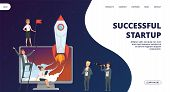 Startup Landing Page. Vector Successful Business Team Web Banner. Illustration Of Launch Rocket, Sta poster