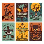 Halloween Cards. Greeting Cards Invitation To Horror Scary Evil Halloween Party Vector Design Templa poster