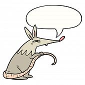 cartoon sneaky rat with speech bubble poster