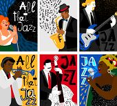 Jazz Music Festival Banners. Studio Mic And Sax, Guitar And Contrabass Live Audio Posters With Music poster