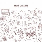 Monochrome Banner Template With Hands Typing On Laptop And Stationery Drawn With Contour Lines. Onli poster