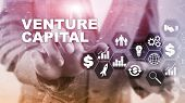 Venture Capital On Virtual Screen. Business, Technology, Internet And Network Concept. Abstract Back poster