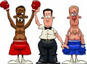 stock photo of pugilistic  - The referee declares the winner vector illustration - JPG