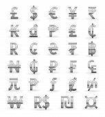 Silver currency symbols