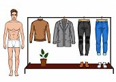 Color Vector Illustration Of A Male Modern Wardrobe For The Autumn Season. A Man Stands Next To A Cl poster