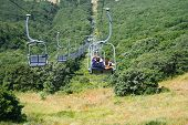 stock photo of ropeway  - Ropeway in forest - JPG