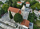 Croatian Village Aerial View. Church In Marusici, Dalmatia. poster