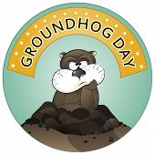 pic of groundhog day  - Vector illustration of a cute groundhog popping out of a hole - JPG