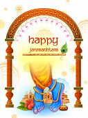 Illustration Of Feet Of Lord Krishna In Happy Janmashtami Festival Background Of India poster