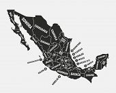 Mexico Map. Poster Map Of Mexico With State Names. Mexican Background. Vector Illustration poster
